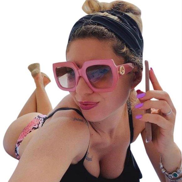 gucci green square frame gg0178s00554 sunglasses